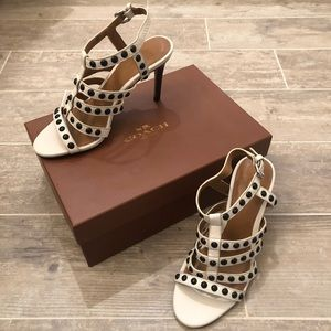 Cream studded Coach heeled sandals